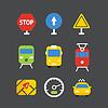 Verschiedene Transport Icons mit abgerundeten eingestellt