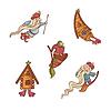 Reihe von niedlichen Märchenfiguren