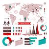 Set von Infografik-Elemente mit Weltkarte