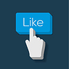 Like us Button mit Hand gefor Cursor