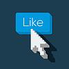 Like us Button mit Pfeil geformt Cursor