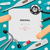 Medical Vorlage mit Medizin-Ausrüstung | Stock Vektrografik