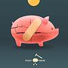 Piggy brechen Sparschwein mit Münze und stecken Gips