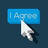 Ich stimme Button mit Pfeil geformt Cursor