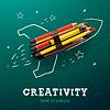 Творчество обучения. Запуск ракеты корабль с | Векторный клипарт
