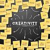 Kreativität Konzept Vorlage mit Haftnotizen