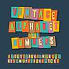 Weinlese-Alphabet und Zahlen, Collage-Papier Handwerk