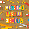 Back to school background - collage paper craft