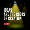 Idee, Konzept. Text mit gelben Lichtstrahlen. Vecto