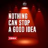 Idee, Konzept. Text mit roten Strahlen des Lichts. Vektor