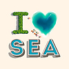Ich liebe das Meer, | Stock Vektrografik