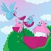 Cute Cartoon-Vögel mit einer wachsenden Familie