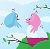 Cute Cartoon-Vögel Fürsorge für großes Ei