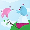 Netter Vogel füttert ihr Kumpel, wie er brütet Ei