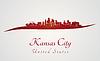 Kansas City Skyline in rot