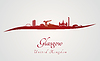 Glasgow Skyline in rot | Stock Vektrografik