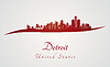 Detroit skyline in red