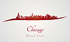 Skyline von Chicago in rot | Stock Vektrografik