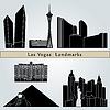 Las Vegas Sehenswürdigkeiten und Denkmälern | Stock Vektrografik