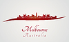 Skyline von Melbourne in rot