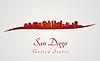 Skyline von San Diego in rot