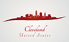 Cleveland Skyline in rot