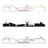 Amsterdam Skyline linearen Stil mit Regenbogen