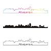 Albuquerque Skyline linearen Stil mit Regenbogen