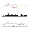 Albany Skyline linearen Stil mit Regenbogen