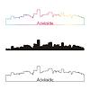 Adelaide Skyline linearen Stil mit Regenbogen