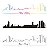 Abu Dhabi Skyline linearen Stil mit Regenbogen