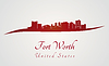Fort Worth Skyline in rot | Stock Vektrografik