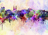 Prague skyline in watercolor background | Stock Illustration