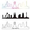 Barcelona Skyline linearen Stil mit Regenbogen