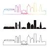 Riad Skyline linearen Stil mit Regenbogen
