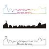 Rio de Janeiro Skyline linearen Stil mit Regenbogen