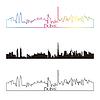 Skyline von Dubai linearen Stil mit Regenbogen