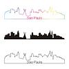 Skyline von Sao Paulo linearen Stil mit Regenbogen