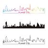 Kuwait-Stadt Skyline linearen Stil mit Regenbogen