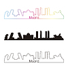 Madrid skyline linear style with rainbow | Stock Vector Graphics