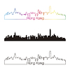 Hong Kong Skyline styl liniowy z tęczy | Stock Vector Graphics
