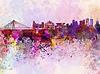 ID 4183039 | Skyline von Warschau in Aquarell-Hintergrund | Illustration mit hoher Auflösung | CLIPARTO