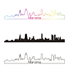 Manama Skyline linearen Stil mit Regenbogen
