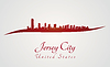 Jersey City Skyline in rot
