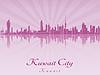 Kuwait-Stadt-Skyline im strahlenden lila Orchidee
