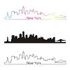 Skyline von New York linearen Stil mit Regenbogen