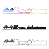 Kopenhaga skyline liniowy styl z rainbow | Stock Vector Graphics