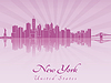 Skyline von New York in lila strahlende Orchidee