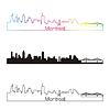 Montreal Skyline linearen Stil mit Regenbogen