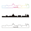 무지개와 헬싱키의 스카이 라인 선형 스타일 | Stock Vector Graphics